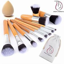 Start Makers Bamboo Makeup Brushes -12pcs Natural Make up Brushes - Vegan Make u