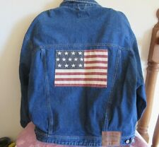 Vintage POLO COUNTRY RALPH LAUREN AMERICAN FLAG JEAN JACKET! JAPAN COLORS FRONT
