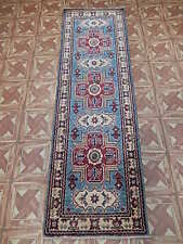 Hand Knotted Runner 2' x 6' Kazak Fine Quality Carpet Study (23x76 in)