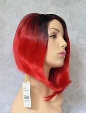 Short Asymetrical Black/Red Ombre Side Part, no Bangs Full Synthetic Wig - COS1