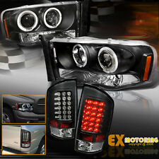 2002-2005 Dodge Ram 1500 2500 Halo Projector Headlights + LED Tail Lights Black