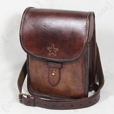 BUFFALO LEATHER MAP CASE - Bag Pouch Holder Brown Shoulder Strap Star Design