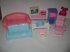 Lot of Barbie Dollhouse Furniture Couch TV Salon Chair Office Table Stool