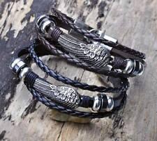 G11 2pcs Metal Wing Studded Surfer Leather Bracelet Wristband Cuff Men's B&K