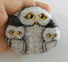 Owls 3x3in. Hand Painted on a rock Artist V.Kovtun / UNIQUE GIFT