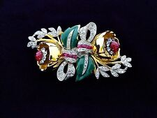 Vintag Coro Book Duette Camellia Red Clear Rhinestone Green Enamel Flower Brooch