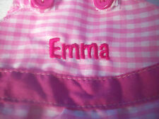 "EASTER BUNNY Plush Rabbit WITH PERSONALIZED DRESS NAME = EMMA 14.5""  NEW"