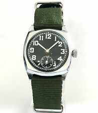 1930s Vintage WWII  Elgin  Aviator Military  Mens Manual Watch SUBSIDIARY DIAL