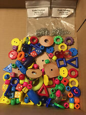 100 BIRD TOY PARTS ASSORTED SM PLASTIC + LEATHER PARTS