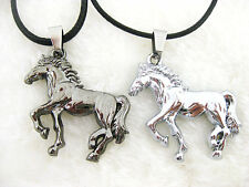 Stainless Steel New Cool Silver Horse Unisex Pendant Leather Necklace Jewelry