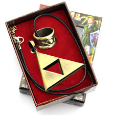 The Legend of Zelda Triforce Necklace And Gold Ring Wearable Cosplay Pendant Set