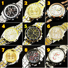 WHOLESALE 9PCS NEW LUXURY WATCHES MEN'S QUARTZ STAINLESS STEEL WRIST WATCH