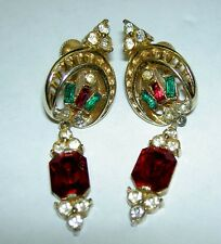 50's CORO Red Green Baguette Clear Rhinestone Goldtone Dangle ScrewBack Earrings