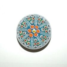 Millefiori Cane Glass Paperweight Flower Art Paper Weight Blue White Orange Dome