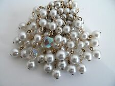 Vintage 50/60s Faux Pearl & Aurora Borealis Waterfall Moving Drop Dangle Brooch