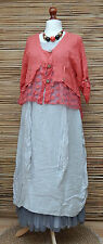LAGENLOOK LINEN AMAZING BEAUTIFUL LACE QUIRKY BOHO JACKET*CORAL*SIZE L-XL