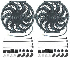 "DUAL 12"" INCH ELECTRIC FANS 12 VOLT AUTO RADIATOR COOLING FAN 80W MOTOR 1400 CFM"