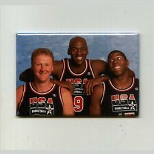 MICHAEL JORDAN BIRD & MAGIC / DREAM TEAM - FRIDGE MAGNET (nike champion jersey)