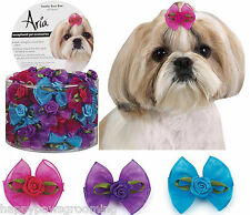 "LOT 48 pc Pet  DOG ""Sunday Rose"" Flower Grooming HAIR RIBBON BOW&BAND*Top Knot"