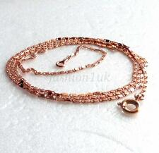 "fashion1uk Rose Gold Plated Chain Necklace HH Links 60cm 23.5"" Long Thin 1.2mm"