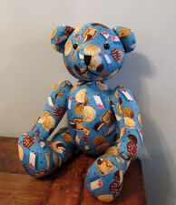 Vintage ABC Friend Macaroon Biscuit Cookie SILK Teddy Bear from Korea Blue 12""