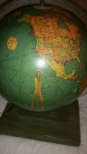 """EXTREMELY RARE REPLOGE LIBRARY LIGHTED 1930s 12""""  Wood Base World Globe,"""