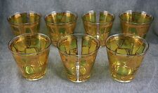 Georges Briard OLD FASHIONED COCKTAIL GLASSES - Set of 7 - GOLD, GREEN, YELLOW