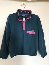 Patagonia Vintage Snap Fleece Womens medium Blue Pink Green pullover jacket USA
