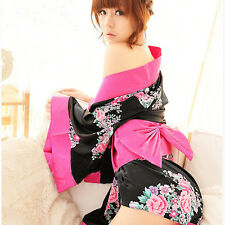 New Woman's Sexy Lingerie Floral Japanese Kimono Geisha Costume Fancy Dress Robe