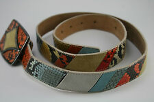 Vintage Tanner Belt Made In Italy 370BT03 Size XL Blue Taupe Orange Yellow