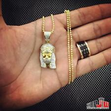 0.60ctw Real Genuine Diamond Jesus Piece Pendant 14K Gold Finish .925 Mens Bling