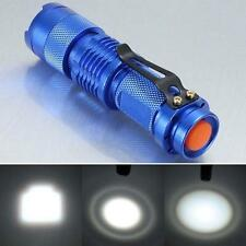 7W 1200lm CREE Q5 LED Mini Zoomable Flashlight 14500/AA Torch Lamp Light Blue TL