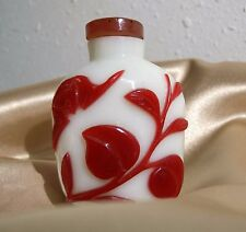 Antique Chinese White with Red Peking Glass Snuff Bottle Signed
