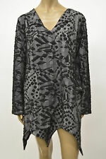 PRISA EUROPEAN PLUS VISCOSE POLY KNIT ASYM PULLOVER POCKET TUNIC BLOUSE SWEATER