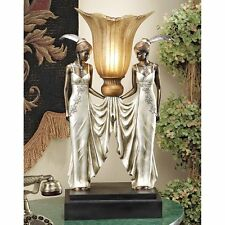 PD331 Art Deco Peacock Maidens Illuminated Sculpture/Statue Lamp