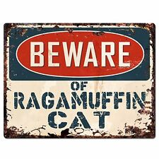 PP1578 Beware of RAGAMUFFIN CAT Plate Rustic Chic Sign Home Store Decor Gift