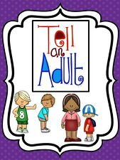 Tell An Adult-No Bullying Single laminated Classroom Poster Sign. 8.5 X 11 in.