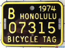 1963 1964 & 1974 Authentic Hawaii Genuine Antique Bicycle License Plate Mint Set