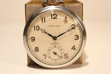 "ART DECO  SWISS MEN'S OPEN FACE POCKET HAND WIND UP  WATCH ""BRAKO"" ANCRE 15J"