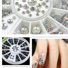 BLACK + CLEAR AB 600pc NAIL ART RHINESTONES GEMS CRYSTAL DECORATION GLITTER SET