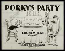 PORKY'S PARTY 1938 RARE VITAPHONE TITLE LOBBY CARD MOVIE POSTER 8x10 PHOTOGRAPH!