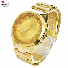 Men's Hip Hop Luxury Fashion Analog Stainless Steel Metal Band Watches WM 0929 G