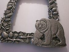 PICTURE FRAME HERITAGE METAL WORKS FINE PEWTER BEAR IN THE WOODS 6x4.75 INCHES