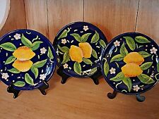VINTAGE SET OF 3 CERAMIC POTTERY DECORATIVE PLATES COLBALT BLUE YELLOW LEMONS HA