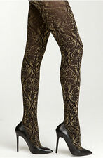 BEBE LOT Damask Tights P/S Black & Gold Made in Italy + Thong Szie S