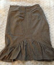BEBE Tailored Pencil Knee Length Knit Skirt SZ 0 Grey with Ruffle detail