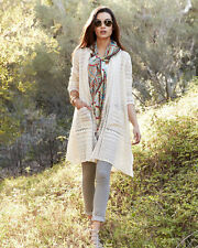 $255 JOHNNY WAS LONG CROCHET JACKET CARDIGAN EMBROIDERED NATURAL IVORY SZ XL NWT