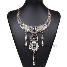 Tibet Silver Bib Statement Choker Halloween Noble Crystal Rhinestone Necklace