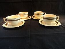 VINTAGE Pearl China Co ROYAL GOLD First Quality 4 Tea Coffee Cups and Saucers B