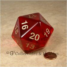 NEW 55mm Transparent Ruby Red Giant Jumbo D20 Life Counter Dice MTG RPG